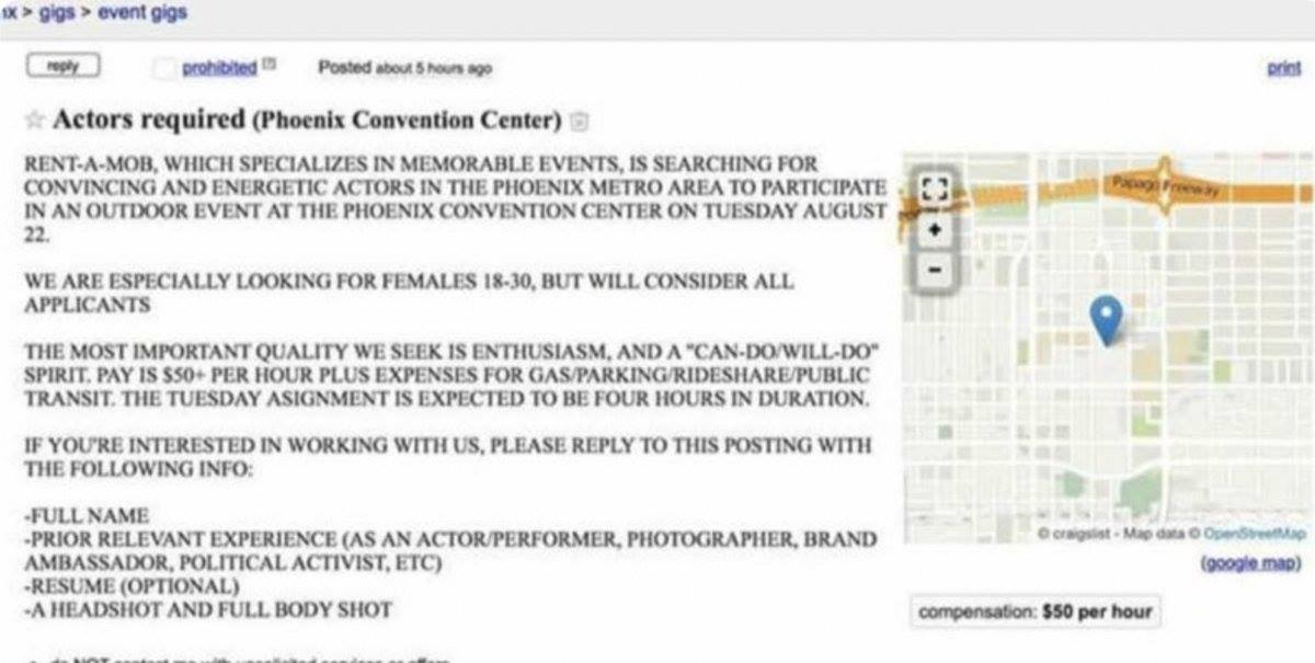 Craigslist Com Phoenix >> Rent-A-Mob, Antifa Groups Head To Phoenix To Protest Trump Rally - Craigslist Ad Looking For ...