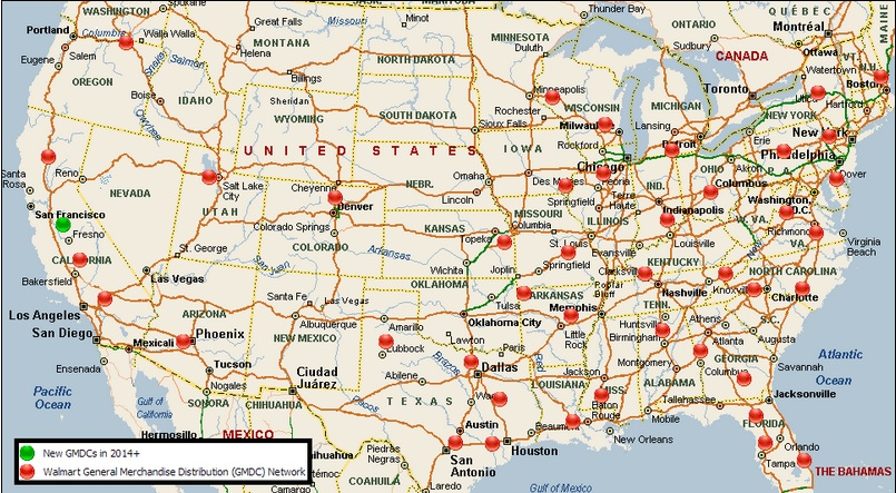 Wal*Mart Distribution Center Map for U.S.